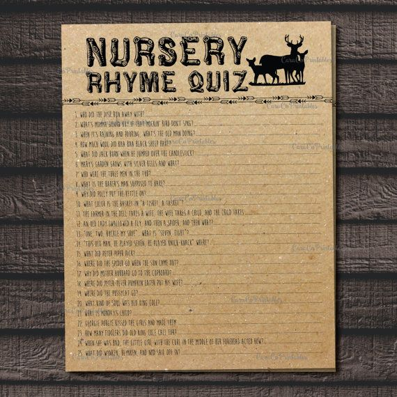 Nursery Rhyme Quiz Baby Shower Game, Fill in the blanks, Woodland Animal Theme, Kraft Paper Background, Printable File, Forest Creatures, Rustic Shower Game, Baby Shower by CaraCoPrintables