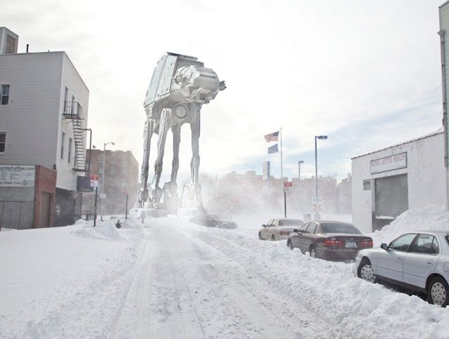 Henry Hargreaves took pictures of his Brooklyn neighborhood and added some quality star wars backdrops.