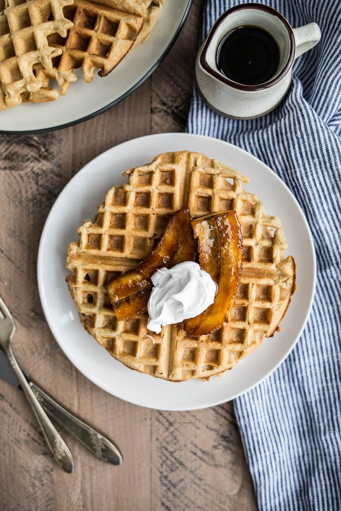 A healthier breakfast take on the traditional decadent New Orleans dessert, these Gluten-Free Bananas Foster Waffles are delicious plus refined sugar-free!
