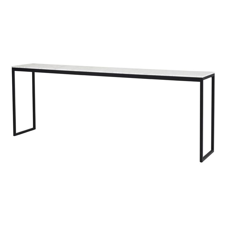 Modern Designer Max Marble Console/Hall Table - Black Steel Base