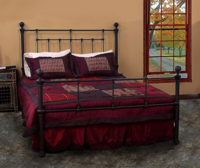 queen sized bed metal frame black antique vintage rustic headboard footboard new