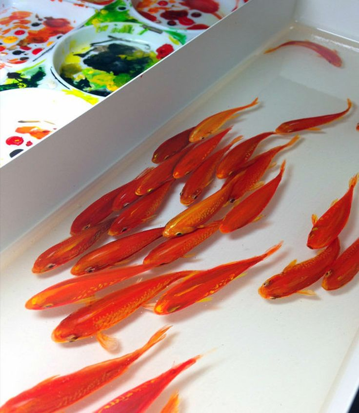 Best Resin Painting Images On Pinterest Goldfish Japanese - Incredible 3d goldfish drawings using resin