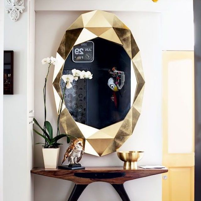 Faceted gold framed mirror wall art