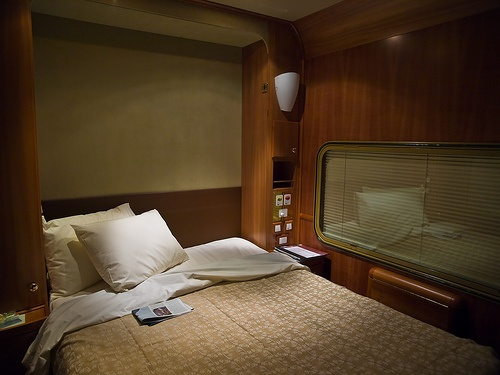 The Ghan Train Australia - Platinum Class bed at night. This is what this amazing train cabin we will travel in will be at night! Nice!