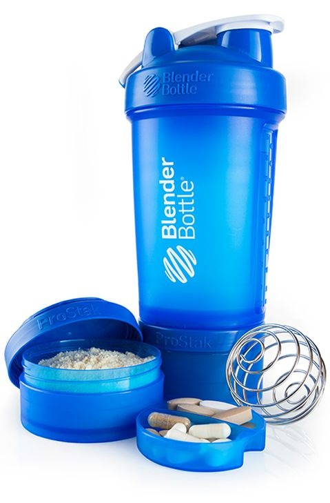 Blender Bottle Prostak available November 2013! This makes it easy to take with you to the gym after work. Put your protein powder/pre workout powder & vitamins or snacks in the container and snap it to the bottom of the bottle.