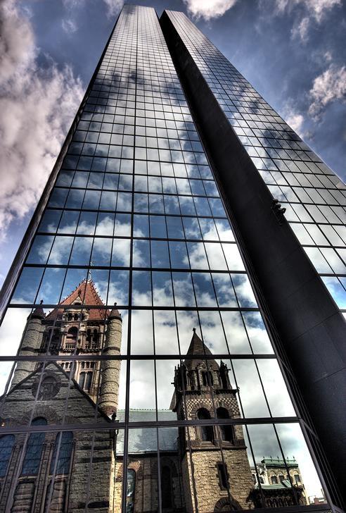 Trinity Church reflected in the glass of the John Hancock building, Boston, MA