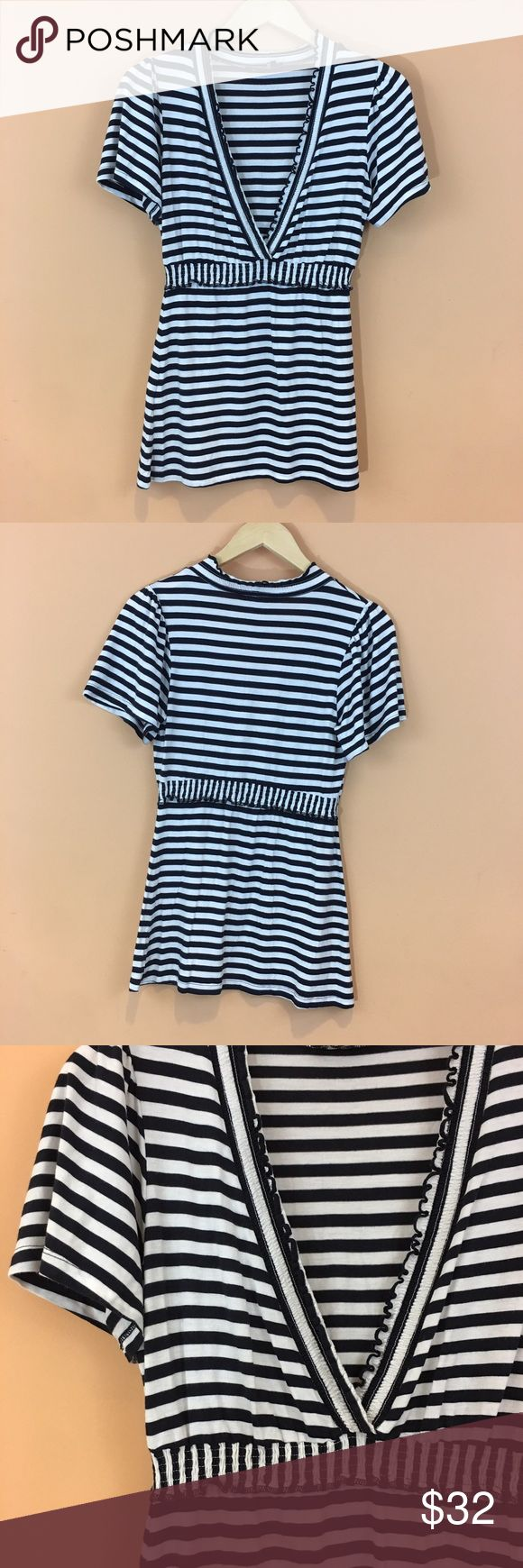 "BCBG MaxAzria Deep V Neck Striped Top Size Small BCBG MaxAzria Deep V Neck Striped Top Size Small Black & Stripes  Smock waistband  Pit to pit 18'  Length 27.5""  Wasit 14.5"" stretches to 19"" BCBGMaxAzria Tops"