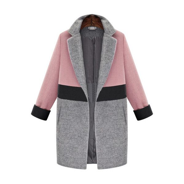 SheIn(sheinside) Pink Grey Lapel Pockets Woolen Coat ($53) ❤ liked on Polyvore featuring outerwear, coats, cappotti, multi, gray coat, long coat, colorblock coat, long wool coat and gray wool coat