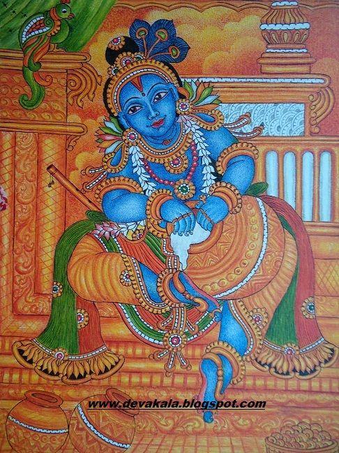 ദേവകല ---- mural paintings: Krishna----Mural painting