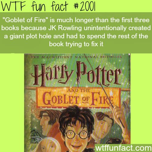 """""""Goblet of Fire"""" JK Rowling - WTF fun facts. Idk if this was true but it's interesting."""