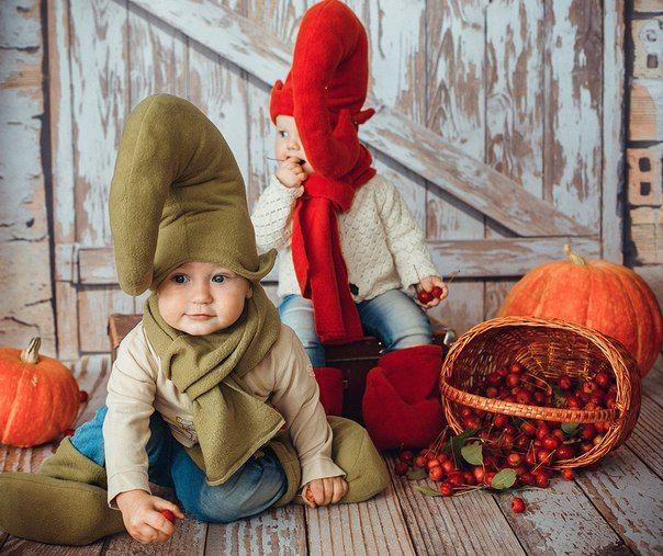 дети, осень, гномики