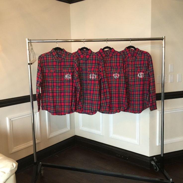 Bridesmaid flannels including their monogram.