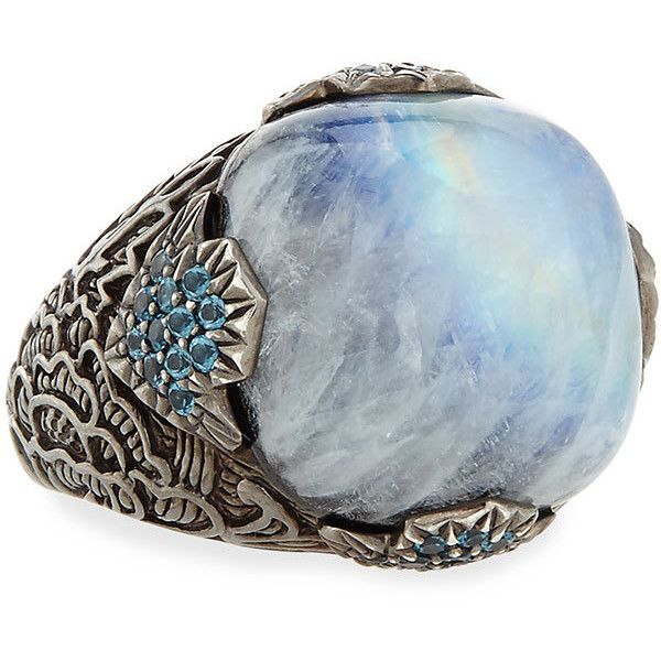 Stephen Dweck 18mm Moonstone & Agate Ring ($790) ❤ liked on Polyvore featuring jewelry, rings, blue, stephen dweck jewelry, cushion cut ring, moonstone ring, moonstone jewelry and blue jewelry