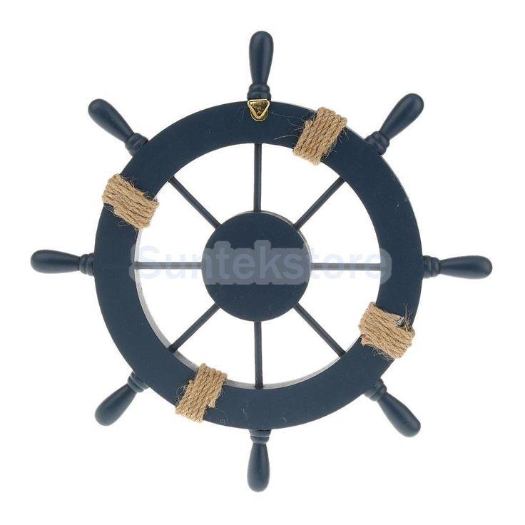 Nautical Beach Wooden Boat Steering Wheel Home Wall Diy Decor Dark Blue