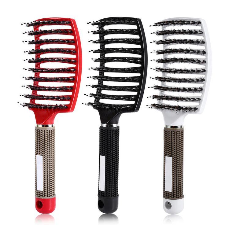 Salon Hair Scalp Massage Comb Hairbrush Bristle & Nylon Detangle Hairdressing Styling Tools Brand New