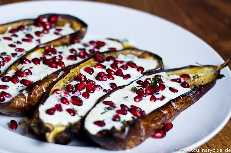 grilled eggplants with buttermilk sauce, basil and pomegranate - delicious, simple and exotic starter (in German)- could be made smaller