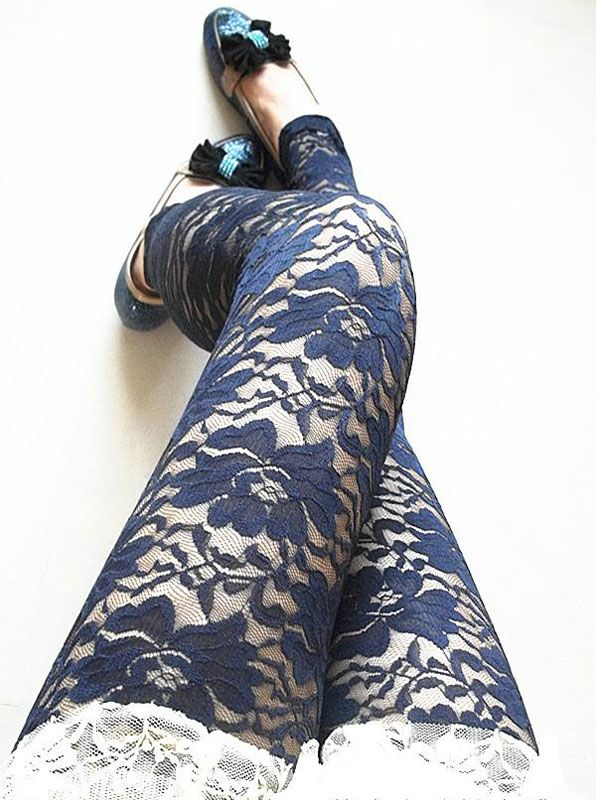 Navy Blue Flower with Lace Carved Leggings. Under ripped jeans this would look amazing.