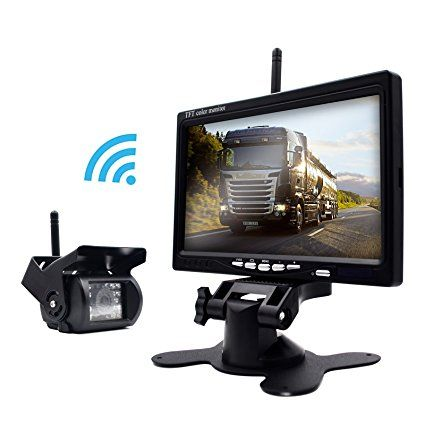 eRapta ERW01 Wireless 7 Inch Waterproof Backup Camera and Monitor System for Semi-Trailer/Box Truck/RV Trailer/Motorcoach/5th Wheel/Trailer/Bus Use as a Full-Time Rear View Monitor or Back-Up Camera