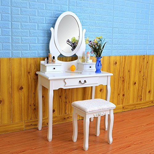 FCH Wooden Girls Vanity Set White Dressing Makeup Table with Drawers&Mirrors Bedroom Bathroom Vanity Table (3 Drawers,White) #Wooden #Girls #Vanity #White #Dressing #Makeup #Table #with #Drawers&Mirrors #Bedroom #Bathroom #Drawers,White)