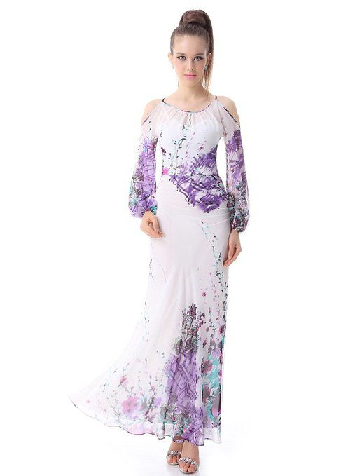 Ever Pretty Printed Chiffon Ruffles Long Sleeve Casual Dress Off shoulder printed evening dress No padded bra