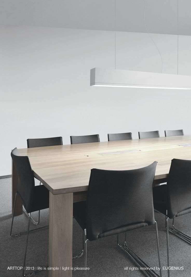 EUGENIUS. modern lighting fixtures, architectural interior lamps for office. long stylish design of our hanging lamp excellent fits in the conference rooms. soft light reaches every corner of the table.