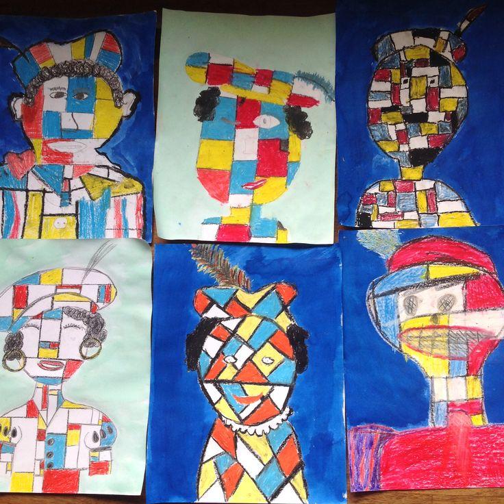 Piet Mondriaan: een leuke tekenopdracht in Sinterklaastijd. Met een knipoog naar de zwarte-piete-discussie;) getekend door groep 7.