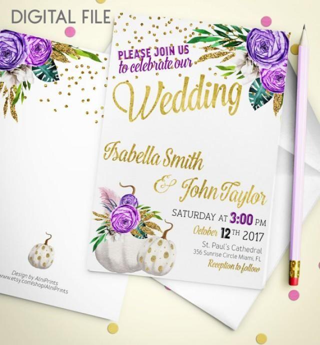 Wedding Invitation Printable pumpkin Wedding Invitation Glitter Confetti Gold Wedding Purple Fall Wedding Invitation Invite idw2