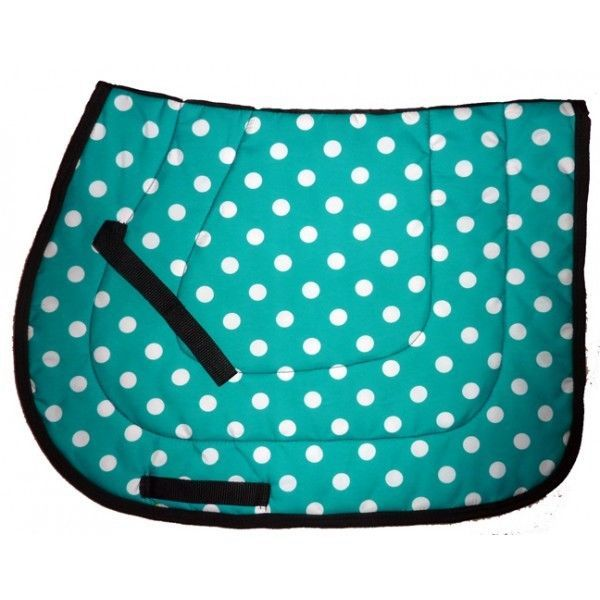 """POLKA DOTS """"TEAL DARK TURQUOISE WHITE"""" cute ENGLISH ALL PURPOSE horse SADDLE PAD in Sporting Goods, Outdoor Sports, Equestrian 