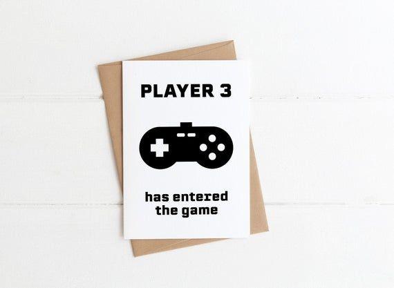 Gamer Schwangerschaft Ankündigung Karte für Ehemann, Spieler 3 hat das Spiel betreten, personalisierte Baby reve  – Products