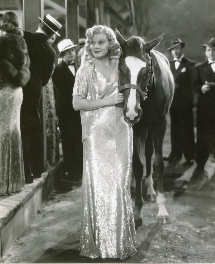 Jean Harlow on the set of Saratoga (1937), Wearing a Dolly Tree design. I love how shimmery it is!