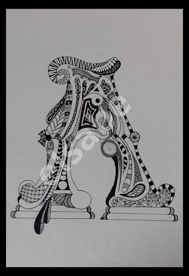Lettre A - zentangle art