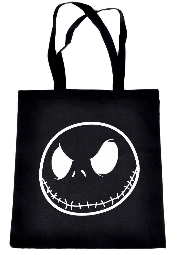 Negative Jack Skellington Face Tote Book Bag Nightmare Before Christmas Handbag