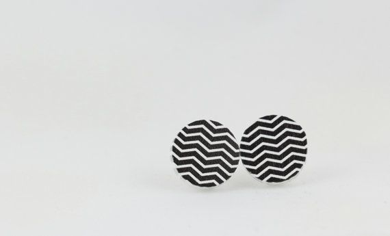 Black and White Striped Stud Earrings - 15mm Stud Earrings - Wood Earrings - Wavy Line Earrings - Round Earrings - Monochromatic Earrings