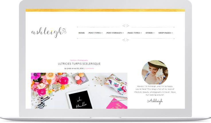 Ashleigh is one extraordinary premium theme. This template is most suitable for Professional, Lifestyle, Fashion, Beauty, Photography, Travel, Artist, Makeup and Daily blogs.