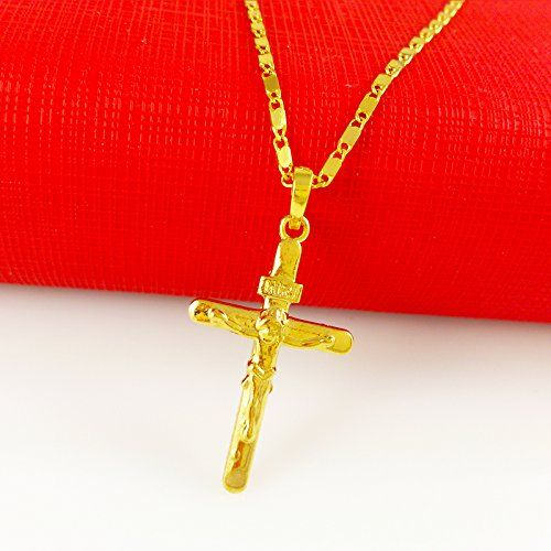 Solid Cross Jesus Pendant 24k Gold Plated Necklace Crucifix Cross Necklace Pendant for Mens Womens - http://www.spiritualgemstonejewelry.com/solid-cross-jesus-pendant-24k-gold-plated-necklace-crucifix-cross-necklace-pendant-for-mens-womens/