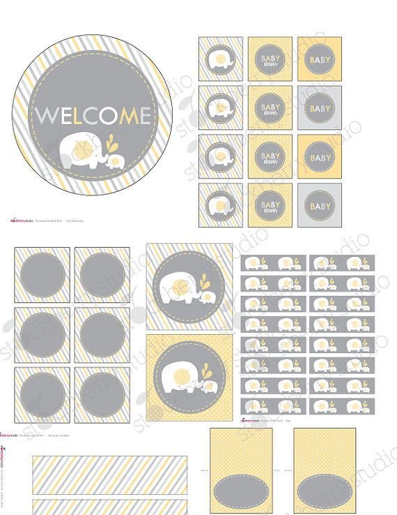 Yellow Elephant Baby Shower Decorations Printable