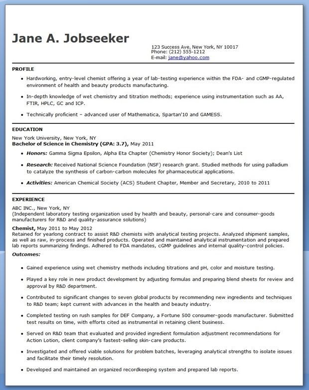 entry level chemistry resume sample