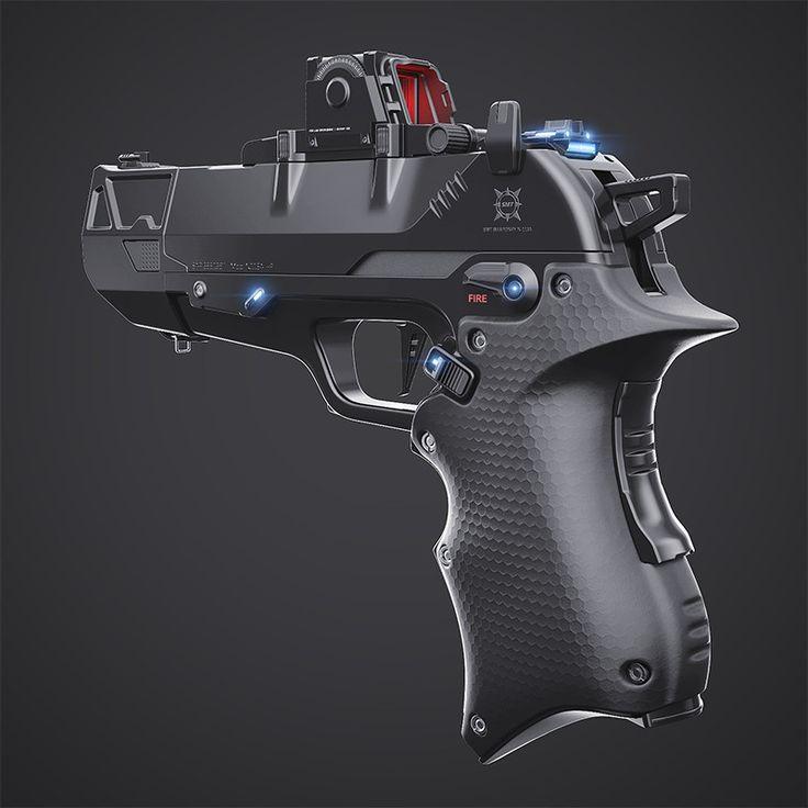 Handgun concept, Dragos Casian on ArtStation at https://www.artstation.com/artwork/mvwwE