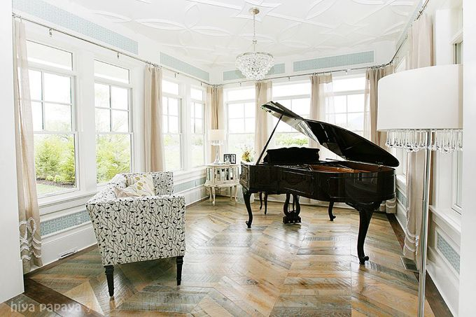 Music room...huge windows, amazing ceiling, gorgeous floor. Oh yes, and a grand piano.