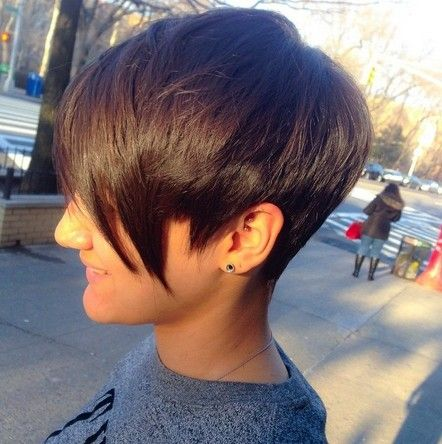 Short Hairstyle with Long Bangs - Women Short Haircut 2015