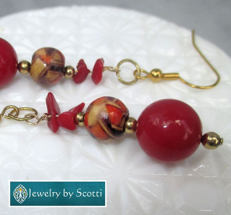 Red and Gold Long Dangle Earrings, Gold Filled Hook Earrings, Patterned Wood Beads, Glass Beads, Festive Earrings, For Her, Party Earrings
