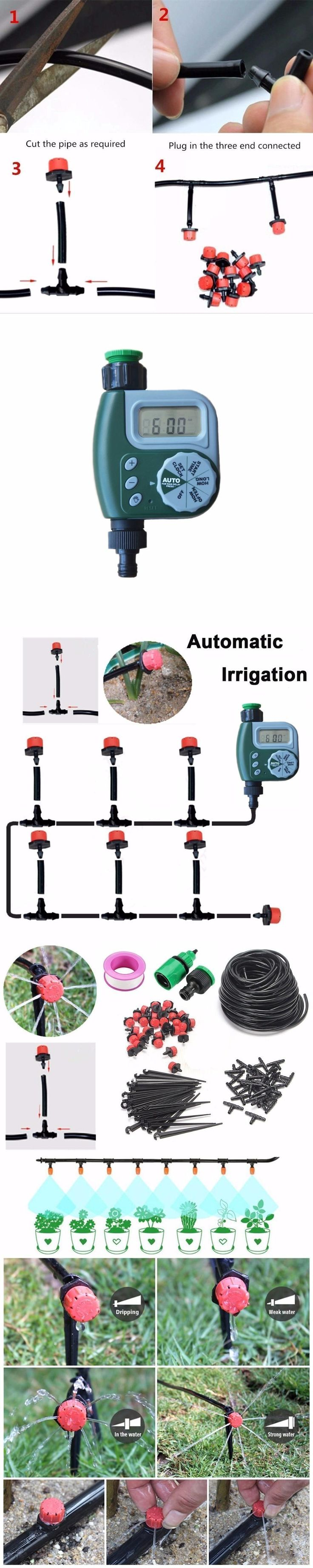DIY Micro Irrigation Drip System, Plant Self Automatic Watering Timer Garden Hose Kits With Adjustable Dripper #watergardens #WateringTimers