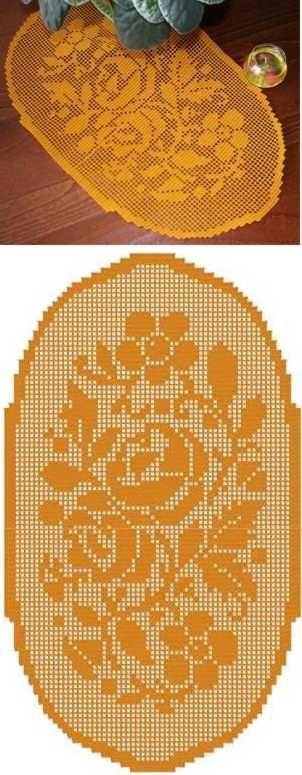 Oval Flower Crochet Doily