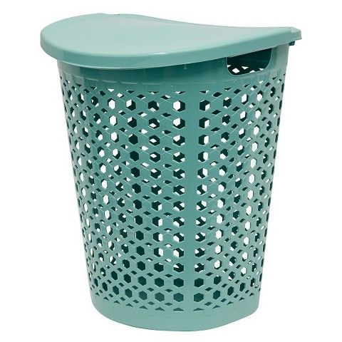 Hamper with Lid: Teal  $15.99 Features: Closable Top   Material: Plastic  Capacity (volume): 614.000 Dimensions: 23.650 H x 20.080 W x 16.060 L In stores only