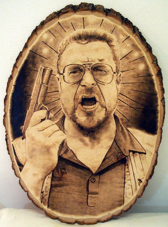 """This is a hand done, one of a king Big Lebowski (walter) pyrography (wood burning) Done on a basswood plank. Size is 16.5 x 11.5"""" signed by the artist and ready to hang.  Thanks for looking."""