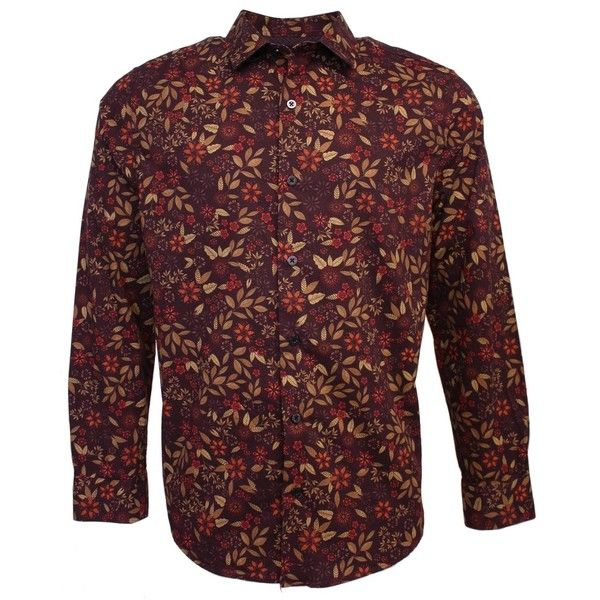 Lords of Harlech - Nigel Shirt in Berry Floral (5,595 PHP) ❤ liked on Polyvore featuring men's fashion, men's clothing, men's shirts, men's casual shirts, men's spread collar dress shirts, mens long shirts, mens long sleeve shirts, mens floral shirts and mens casual long sleeve shirts