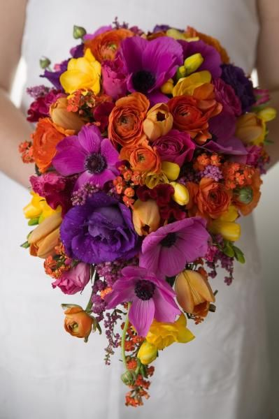 Pink Purple Orange And Yellow Bouquet By Dorothy