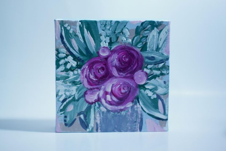 Purple Rose Bouquet Painting, Original Artwork, Floral Arrangement Acrylic Painting on 6 inch Square Canvas by MagnoliaBelue on Etsy
