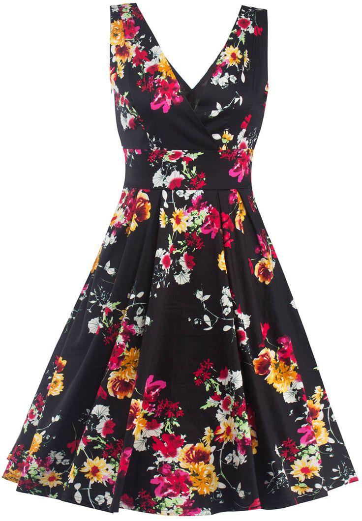 $22.42 High Waist Floral Surplice Dress