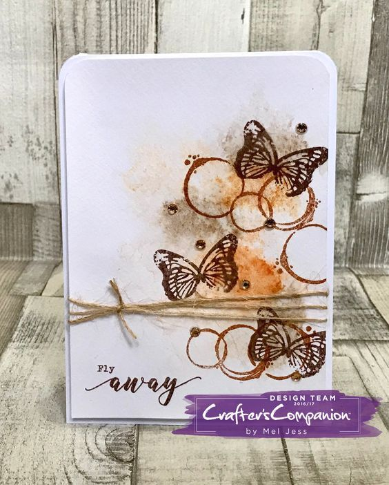 A6 Card made using Sara Signature Flutterby Collection – Stamps - Texture Elements and Fly Away designed by Mel Jess #crafterscompanion